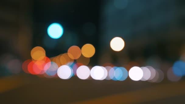 Rušné město velké rozostření noční semafory rozostření bokeh skutečný fotoaparát - 4k