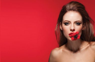 beautiful woman with flower.