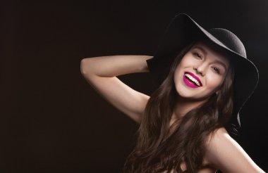 beautiful sexy woman in stylish hat