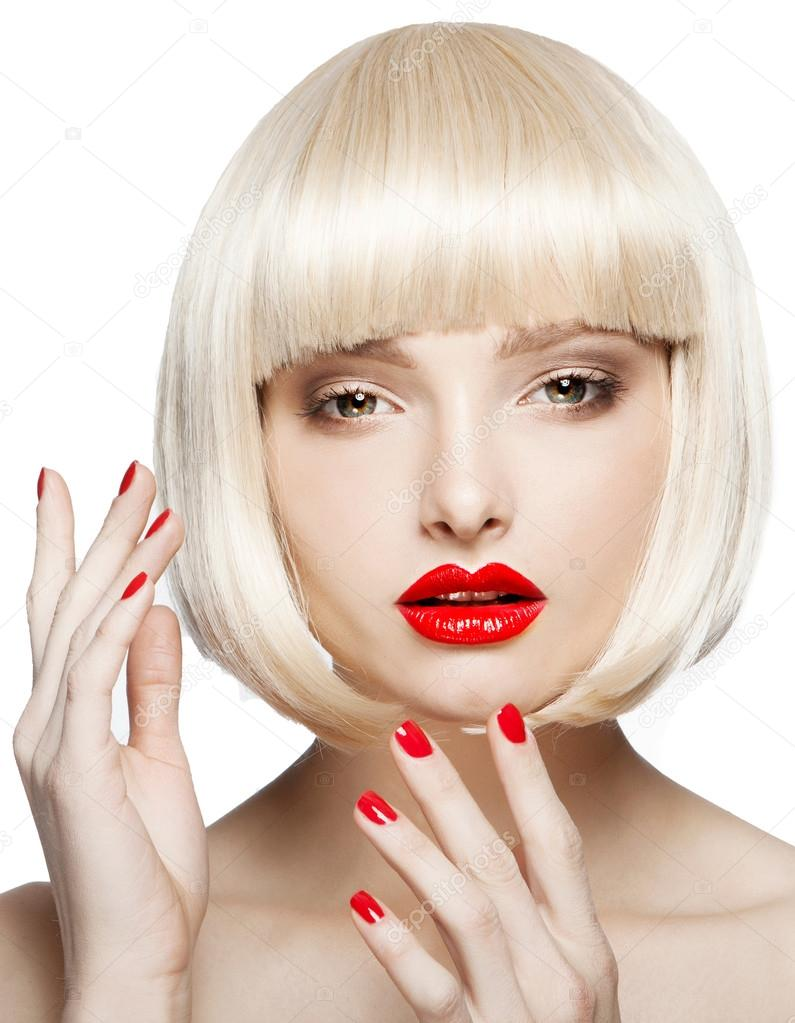 Woman In Short Blond Bob Wig Stock Photo C Novick Maria Gmail Com