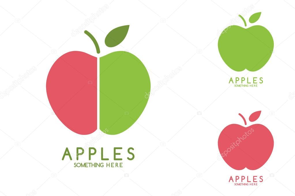 Elma vektör izole. Elma simgesi. Elma logosu. Elma yeşil yaprak ...