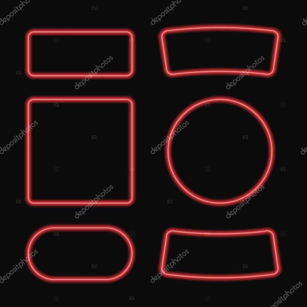 Vector set Neon Rahmen. Neon-Quadrat und Kreis-banner — Stockvektor ...