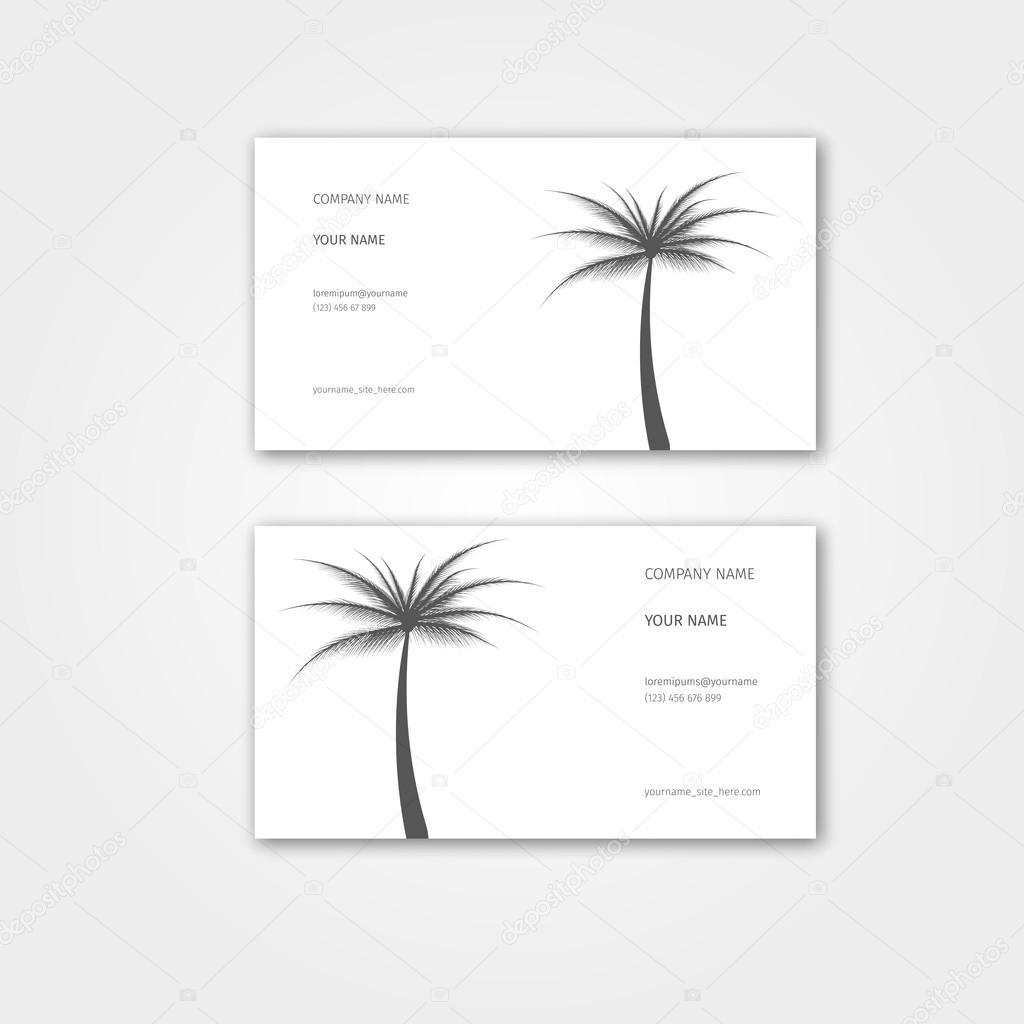 Carte De Visite Lt Avec Palm Pour Agence Voyage Et Guide Touristique Illustration Vectorielle Ensemble Modles