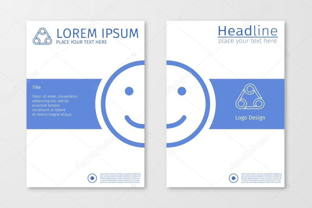Blue Annual Outline Report Business Brochure Flyer Design Template