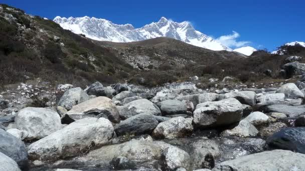 Horské řeky, čistou vodu, pozadí, horský hřeben, Lhotse