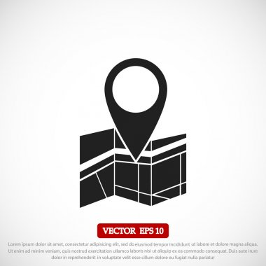 Vector map icon with Pin