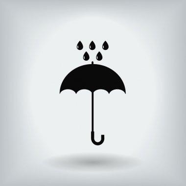 Umbrella and rain drops icon