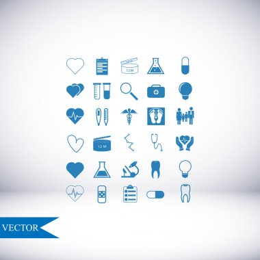 Medical icons set on light background clip art vector