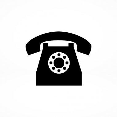 Old phone flat icon. vector illustration clip art vector
