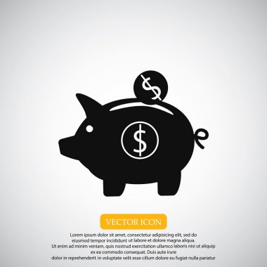 Piggy bank saving money icon