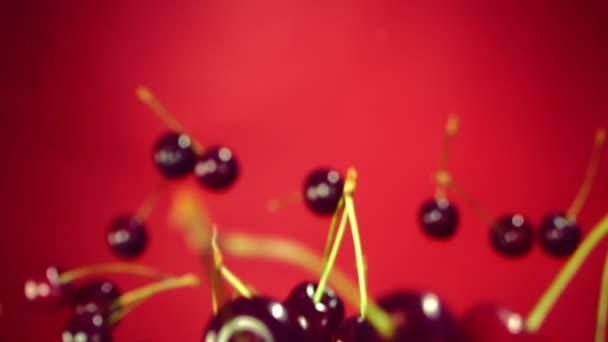 Cherry flies through the air on a red background