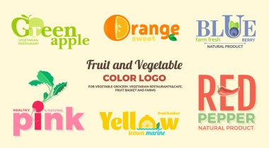 Set of colored logos on the theme of fruits and vegetables. For vegetable shops, vegetarian restaurants and cafes, delivery of fruit and vegetable farms. Vector Illustration.