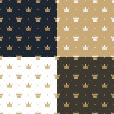 Set seamless pattern in retro style with a white and gold crown on a blue, gold, white and brown background. Can be used for wallpaper, pattern fills, web page background,surface textures. Vector