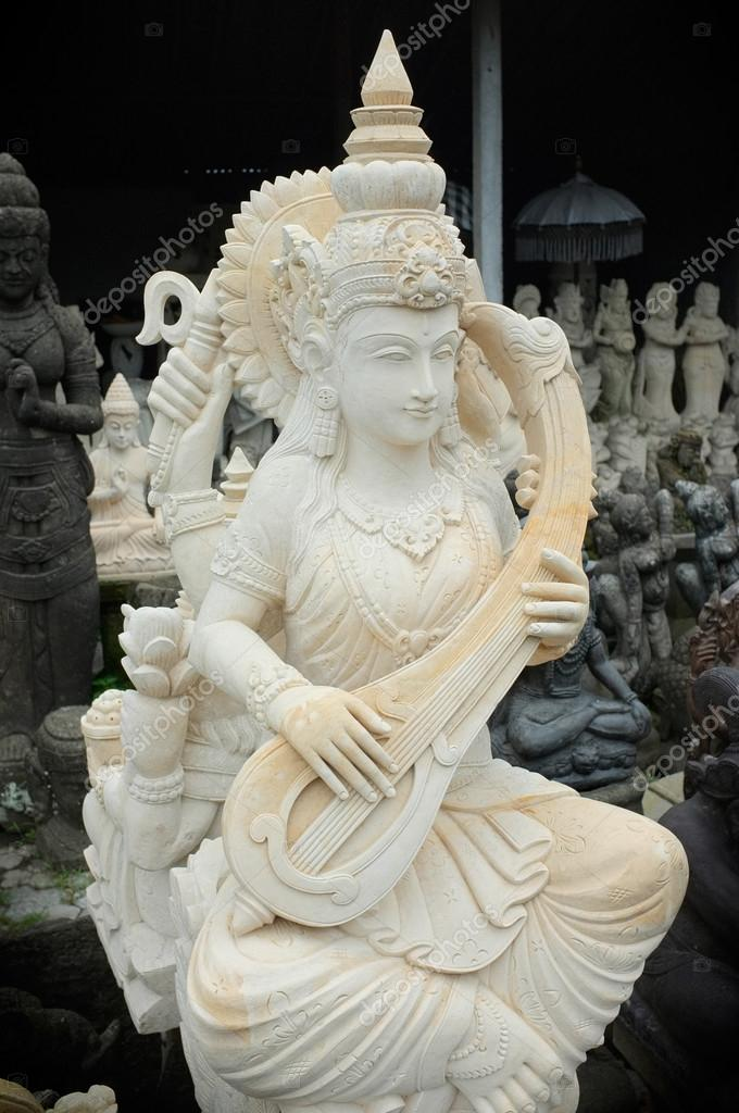 The hand-carved stone statue of the Hindu Goddess of