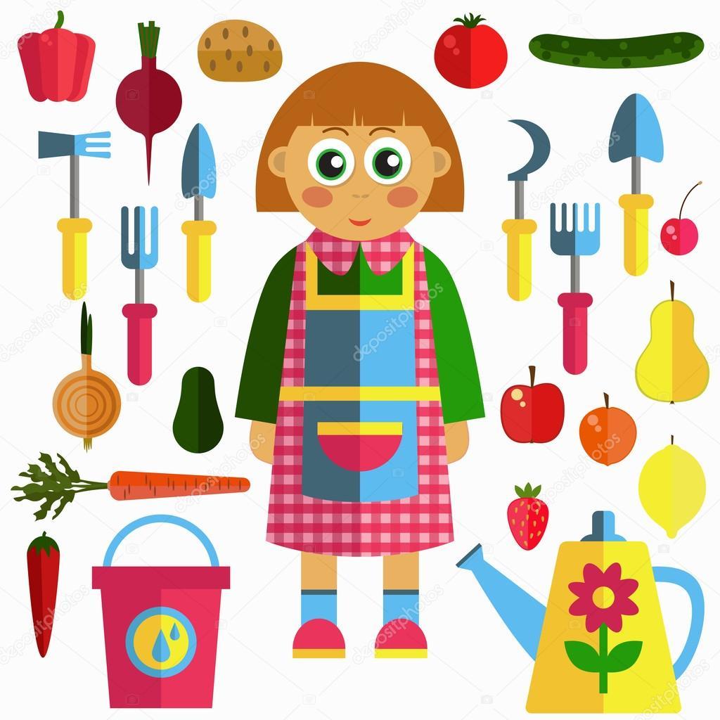 Fille de jardinage avec les outils de jardinage fruits et légumes ...