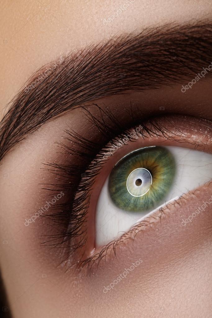 Beautiful Macro Shot Of Green Female Eye With Natural Makeup