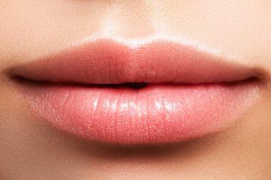 Sweet kiss. Perfect natural lip makeup. Close up macro photo with beautiful female mouth. Plump full lips. Close-up face detail. Perfect clean skin, light fresh lip make-up. Beautiful spa tender lip