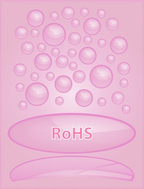 Pink bubble icon with reflection on a pink background with the inscription.