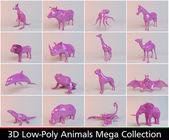 Fotografia collezione di animali 3D rosa poli basso