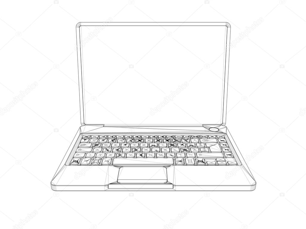 3d wireframe laptop — Stock Photo © fares139.hotmail.com #102694604