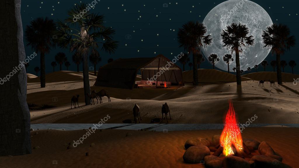 3D desert scene with palm trees