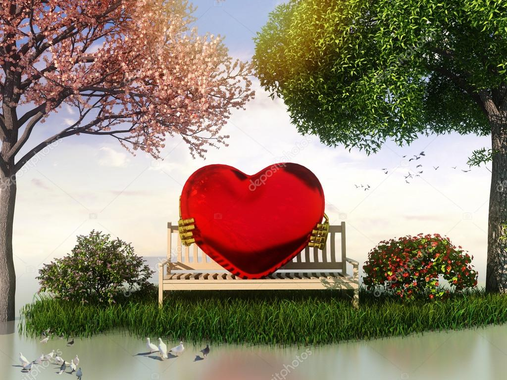 3D Valentin  view for love and romance with heart shape, beautiful summer and spring