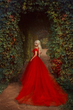 Beautiful blonde girl in a luxurious red dress.