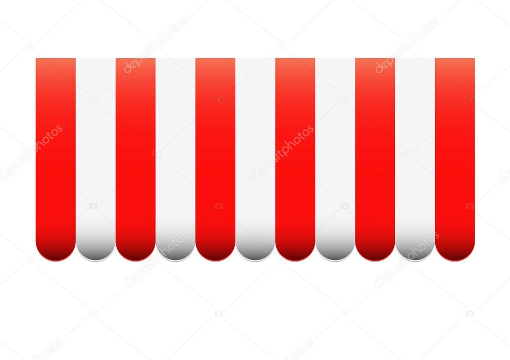 Red and white strip awning — Stock Vector © kaedeezign