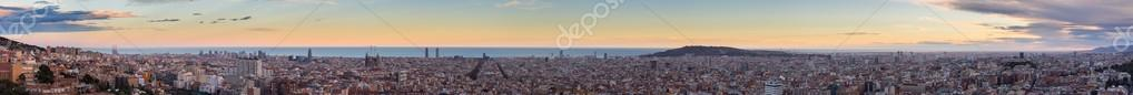 Panorama view of Barcelona from Park Guell in sunny day in winter. High resolution image. Spain