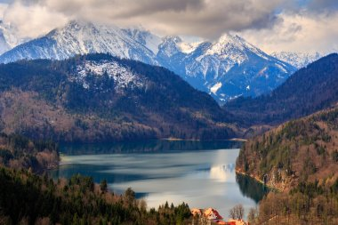 Alps and lakes in a summer day in Germany. Taken from the hill next to Neuschwanstein castle
