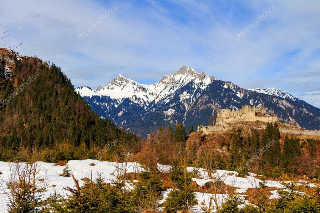 Landscape in the Alps with fresh green mountains