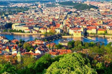 Panorama of Vltava and Charles Bridge