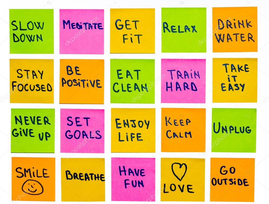 Motivational lifestyle reminders on sticky notes — Stock Photo ...