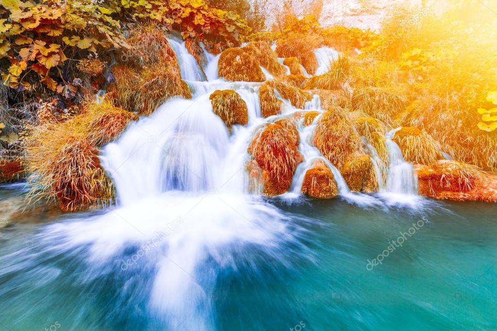 Beautiful waterfalls in Plitvice National Park