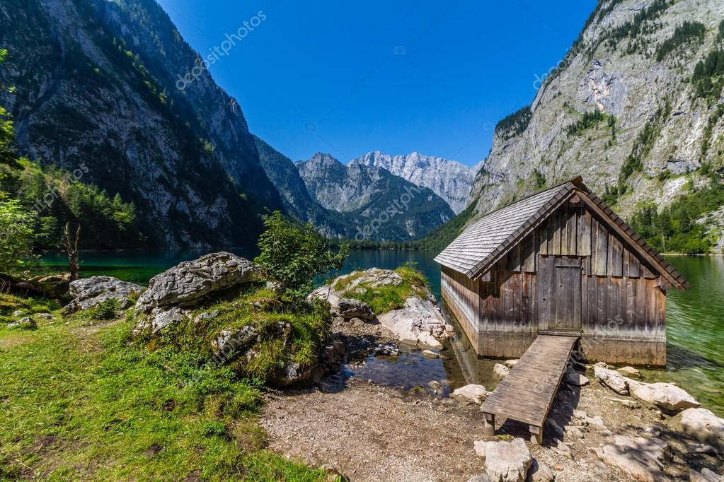 Alps mountains and lake Obersee