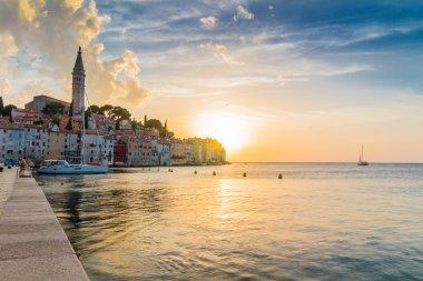Beautiful sunset at Rovinj in Adriatic sea