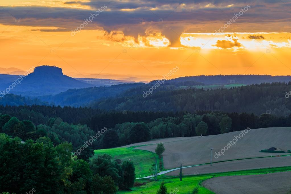 Beautiful sunset over countryside landscape
