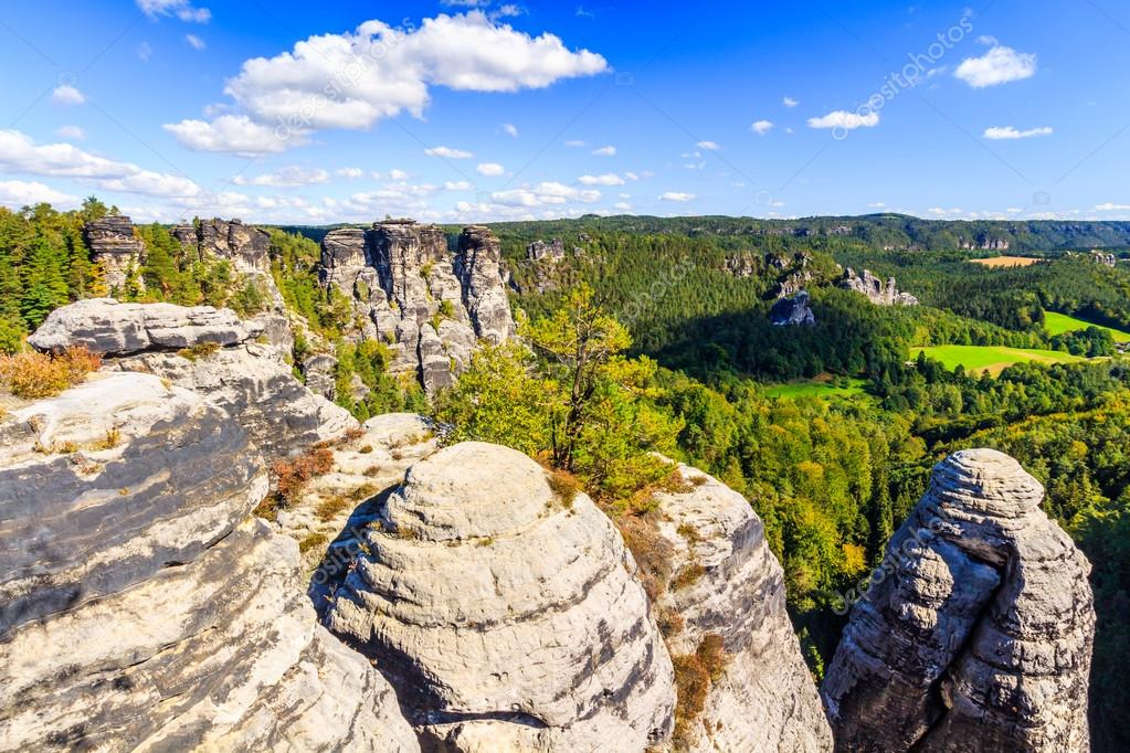 Panorama with typical rock pinnacles