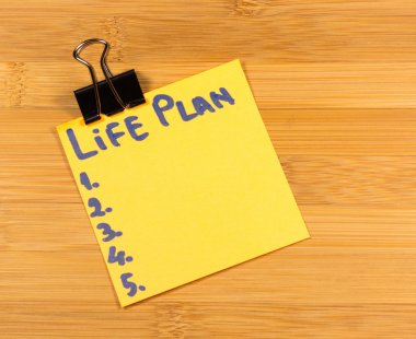 life plan sticky note