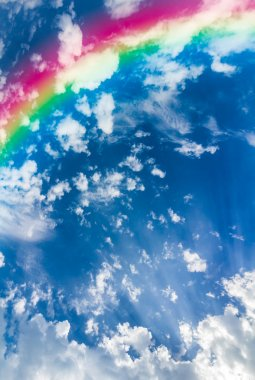 Rainbow in the sky with clouds