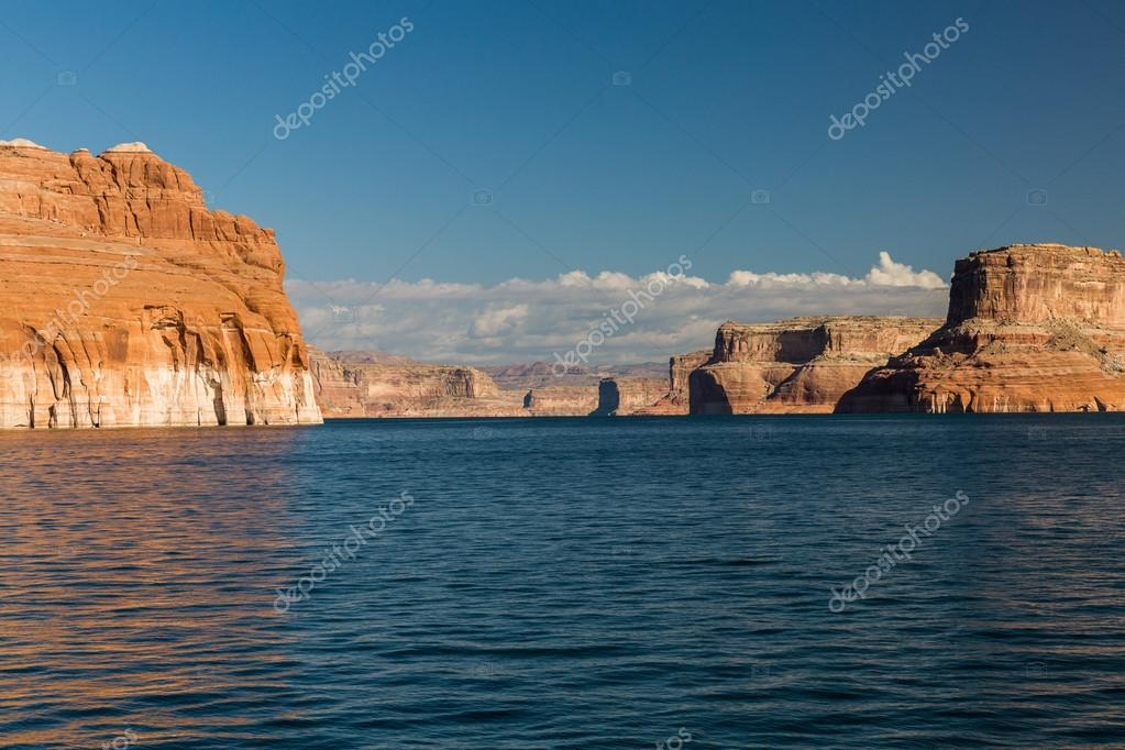 View of the Glen Canyon on the Lake Powell from boat