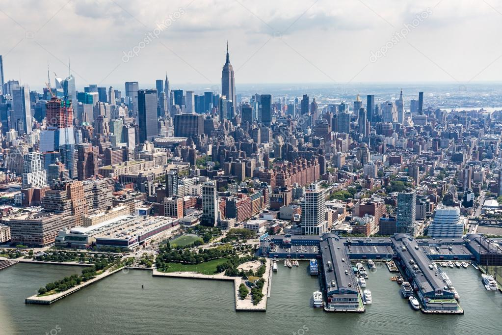 Views of  Manhattan from a helicopter in New York