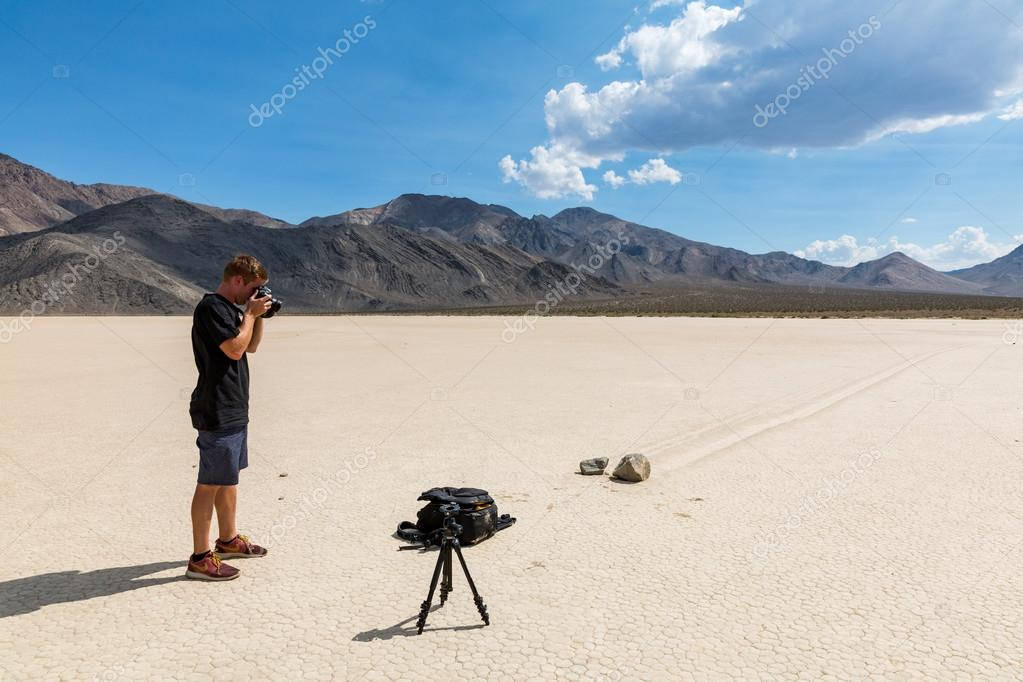 Man making photos near Racetrack in the Death Valley National Park