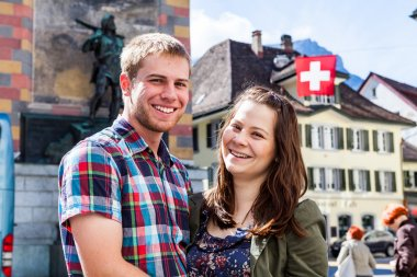 Young couple in Altdorf in canton Uri