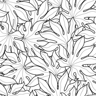 Black and white graphic palm leaves seamless pattern