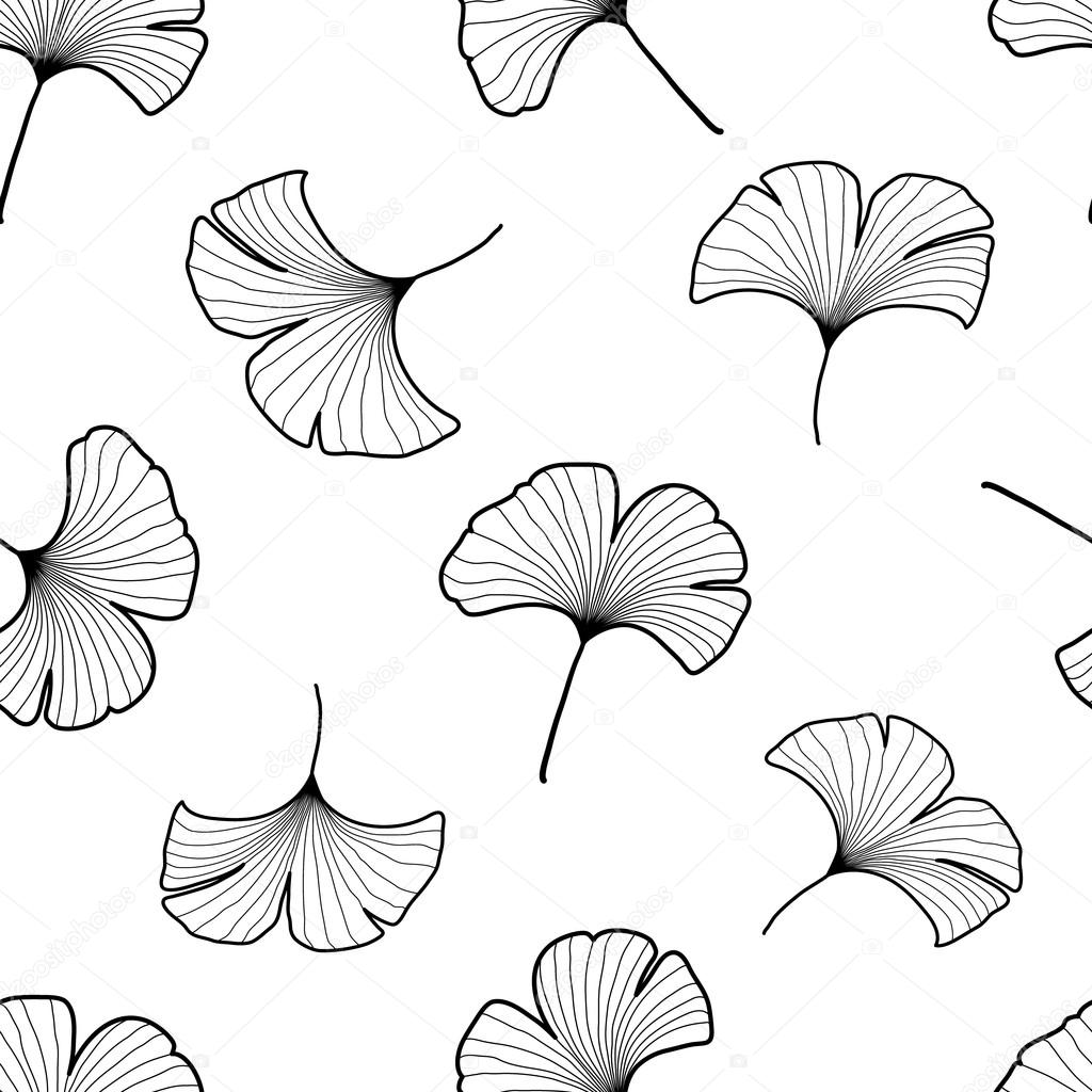 Black and white graphic ginkgo leaves seamless pattern