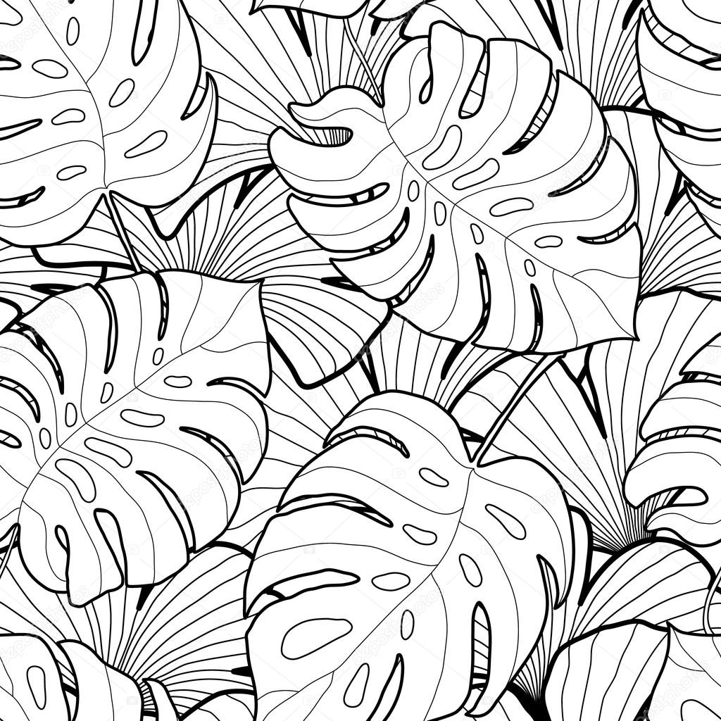 Black and white graphic tropical leaves seamless pattern