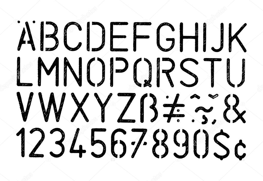 Alfabeto De Estêncil Grunge Vector Preto E Números Sobre Fundo