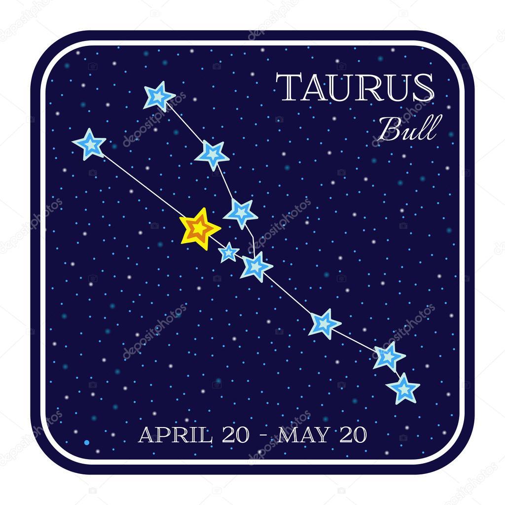 Taurus Tierkreis Konstellation im quadratischen Rahmen — Stockvektor ...
