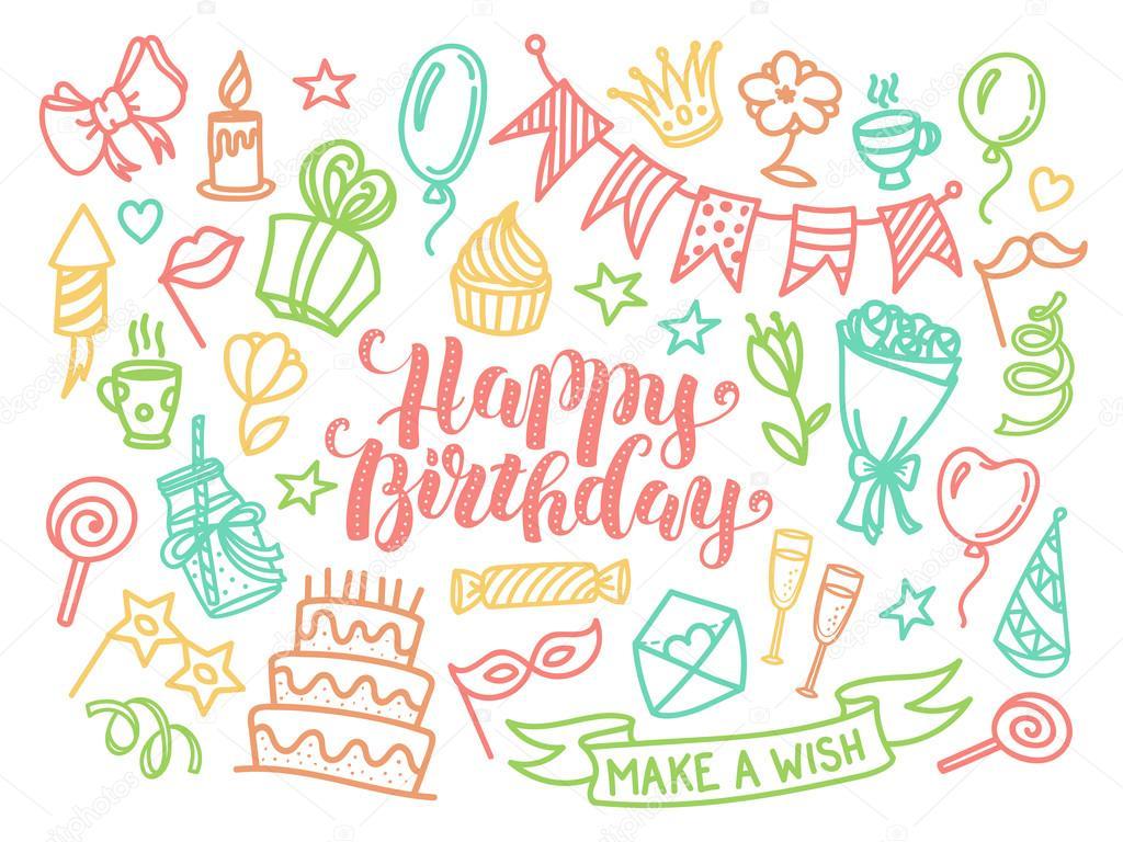 Bunte alles Gute zum Geburtstag-Partei Schriftzug und Doodle set ...